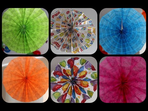 Diy how to make rosette fans with tissue paper sheets for Fomic sheet decoration youtube