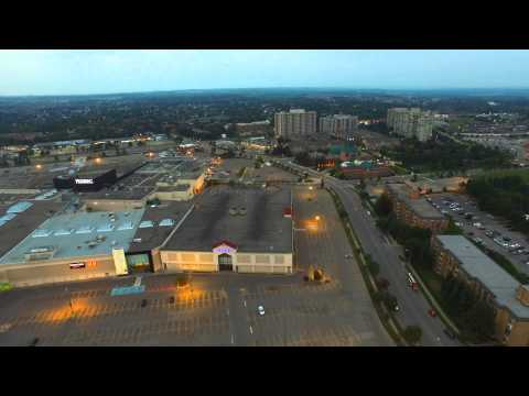 dji Inspire 1 -  aerial view of Pickering Town Centre at sunset