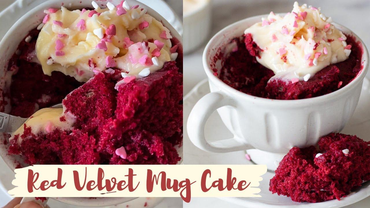 EGGLESS RED VELVET MUG CAKE| V-day recipe idea | Fluffy ...