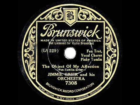 1934 HITS ARCHIVE: The Object Of My Affection - Jimmie Grier (Pinky Tomlin, Vocal)