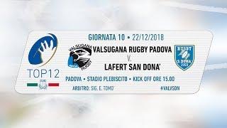 TOP12 2018/19, Giornata 10 - Valsugana Rugby Padova v Lafert San Donà
