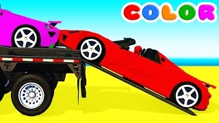 COLOR CARS Transportation and Spiderman Cartoon for babies children w Bus Superheroes for kids! thumbnail