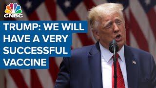 President Donald Trump comments on coronavirus vaccine progress