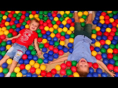 Mirik and Yarik Pretend Play with Balls - Colored Balls everywhere