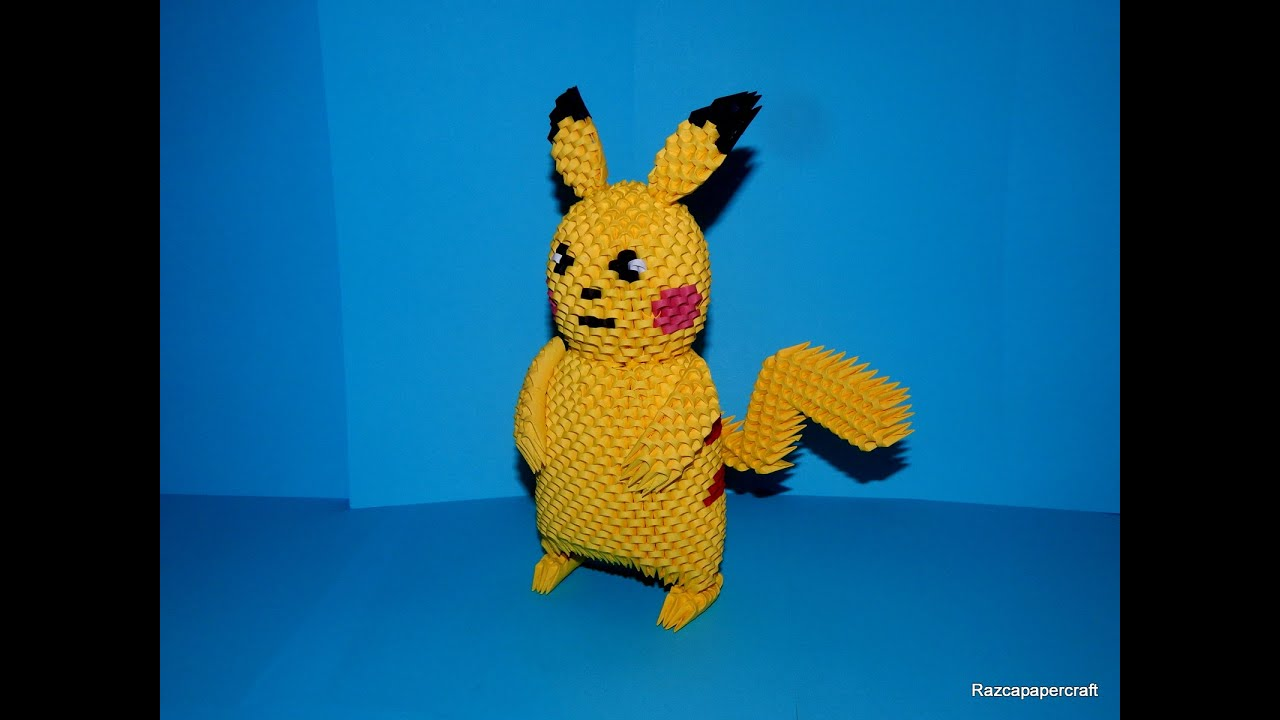 3D Origami Pikachu Tutorial Part2