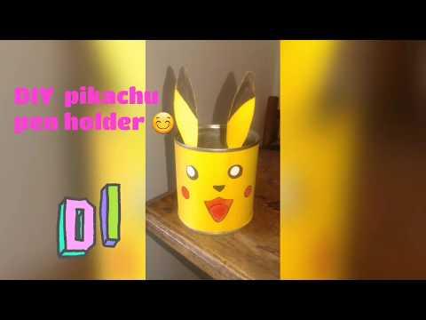 Easy  DIY PIKACHU PEN HOLDER 😊😀 by using milk can