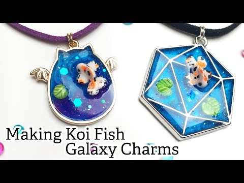 Making Koi Fish Pond Galaxy Charm Necklaces with UV Resin and Polymer Clay