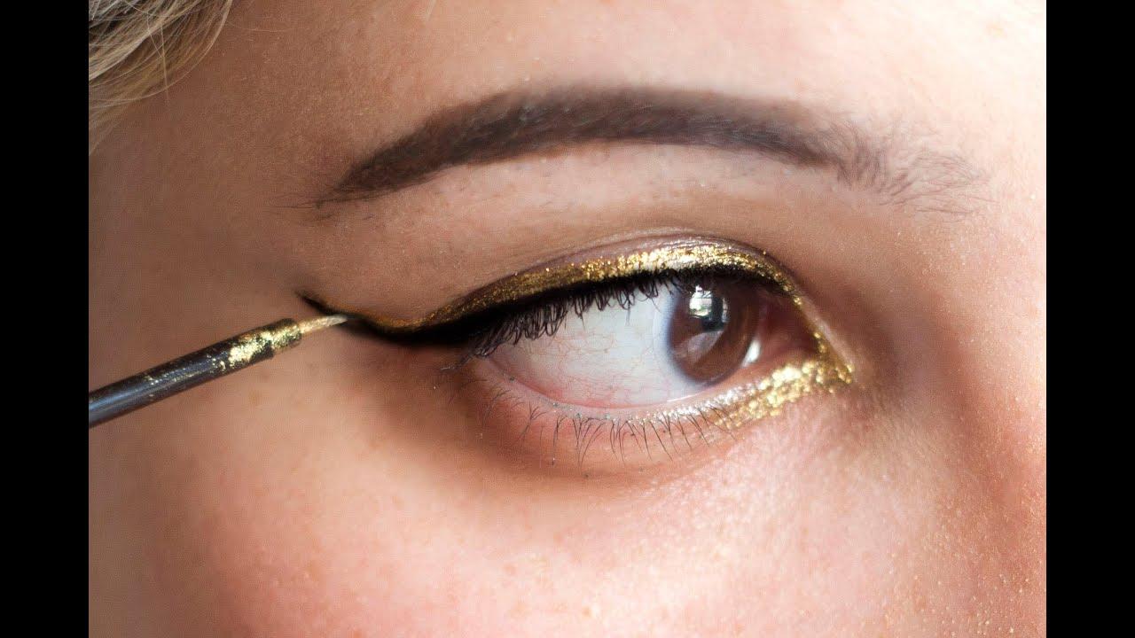 How To Do Metallic Cat Eye Makeup With Liquid Eyeliner You