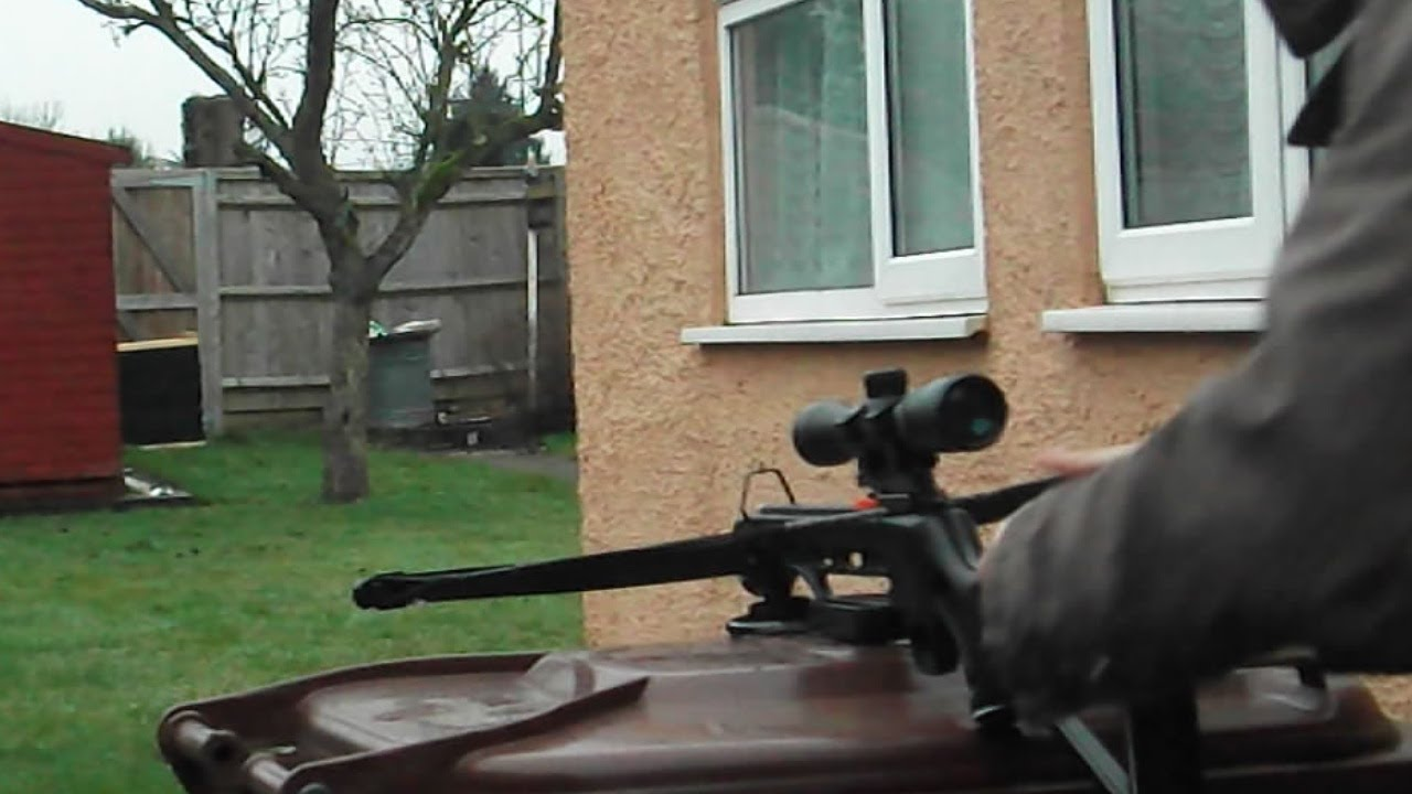 Scope mounted on the 150lb Crossbow - YouTube