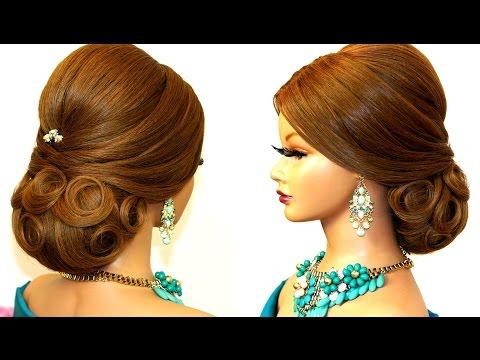 Прическа для средних и длинных волос. Вечерняя, свадебная