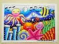 Cara mewarnai gradasi pemandangan Bawah Laut dengan Oilpastel : Drawing scenery of under the sea