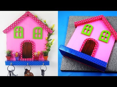 Beautiful! Wall Decoration Key Holder Idea - Easy DIY Home Decoration Idea from Waste Material!