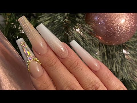 Extra Long Pink White Ombre Mermaid Print Acrylic Coffin Nails Youtube