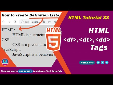HTML Video Tutorial - 33 - Html Dl Tag, Html Dt Tag And Html Dd Tag