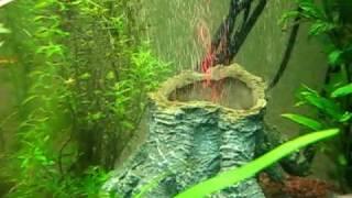 Aquarium Deko Vulkan unter Wasser mit LED Beleuchtung - feine Luftblasen