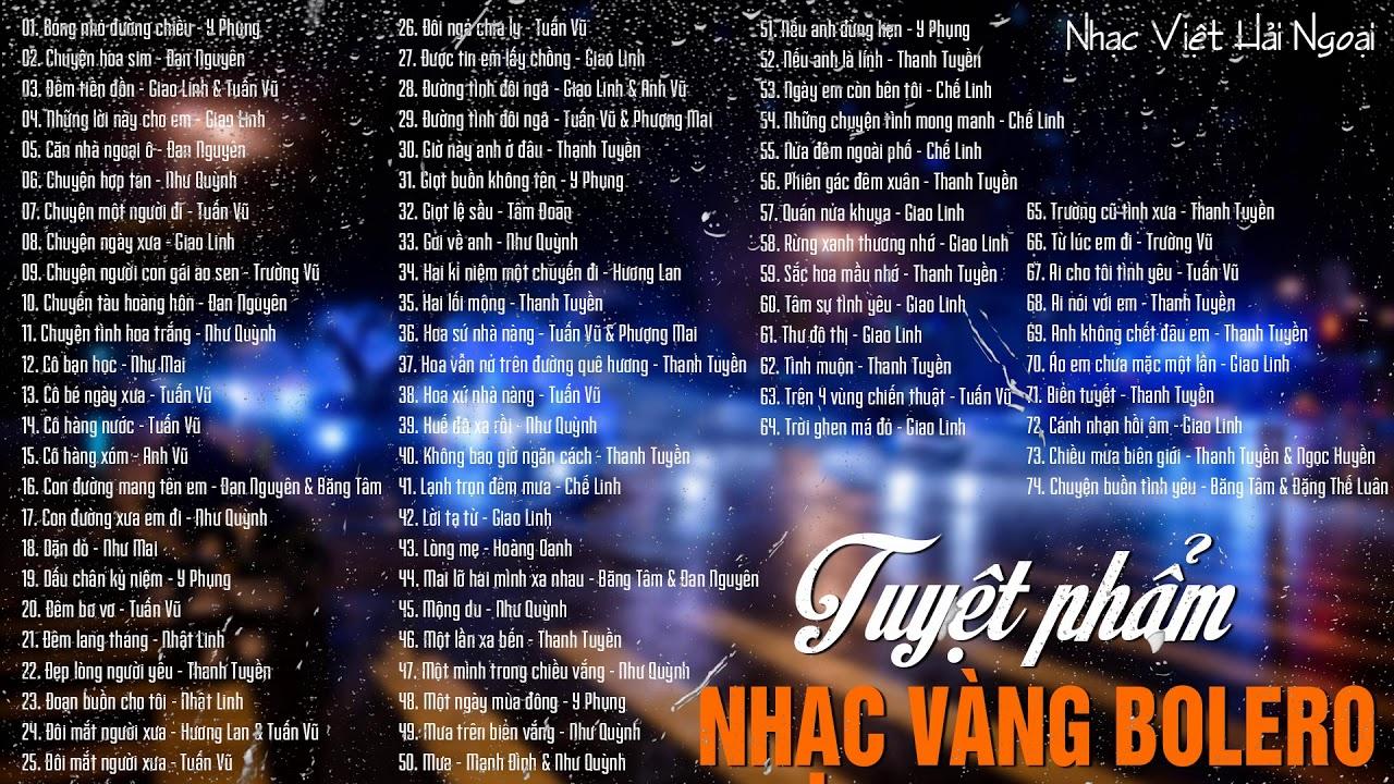 Download Nhạc Việt Hải Ngoại | 74 Bài Nhạc Vàng Bolero Xưa Chọn Lọc Hay Nhất |Tuyệt Phẩm Nhạc Vàng Bolero Xưa