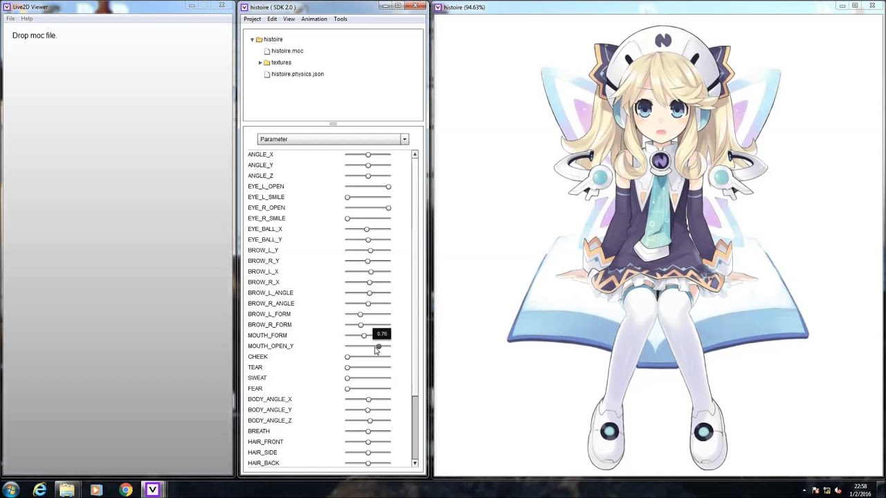 (Fan-made)Neptunia Histoire Live2D demonstration (facerig-able) by  badnewsgoodnewsandfauxnews