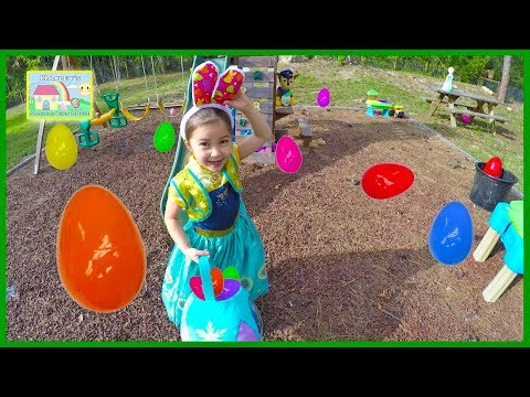 Frozen Anna Big Easter Egg Hunt for Huge Surprise Eggs + Golden Egg Surprise Opening Toy Surprises