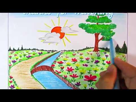 learn-to-scene-of-flower-garden-easy-step-|-scenery-drawing-channel#95