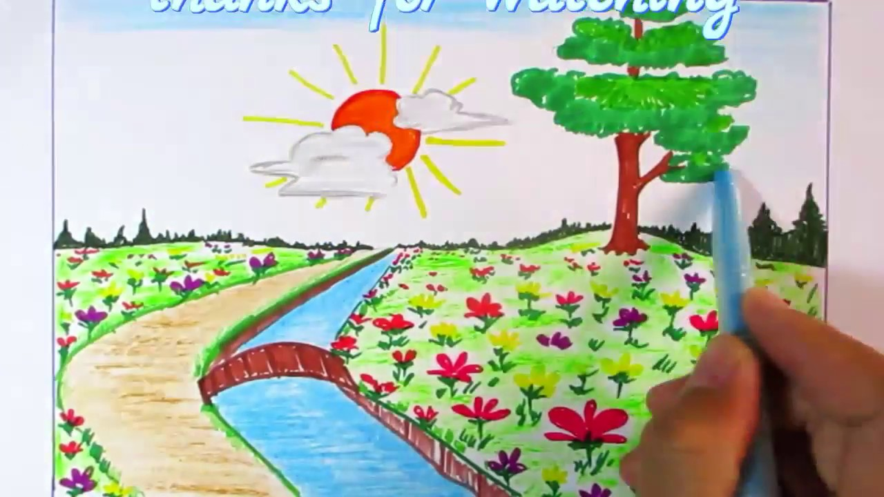 learn to scene of flower garden easy step | scenery drawing channel#95