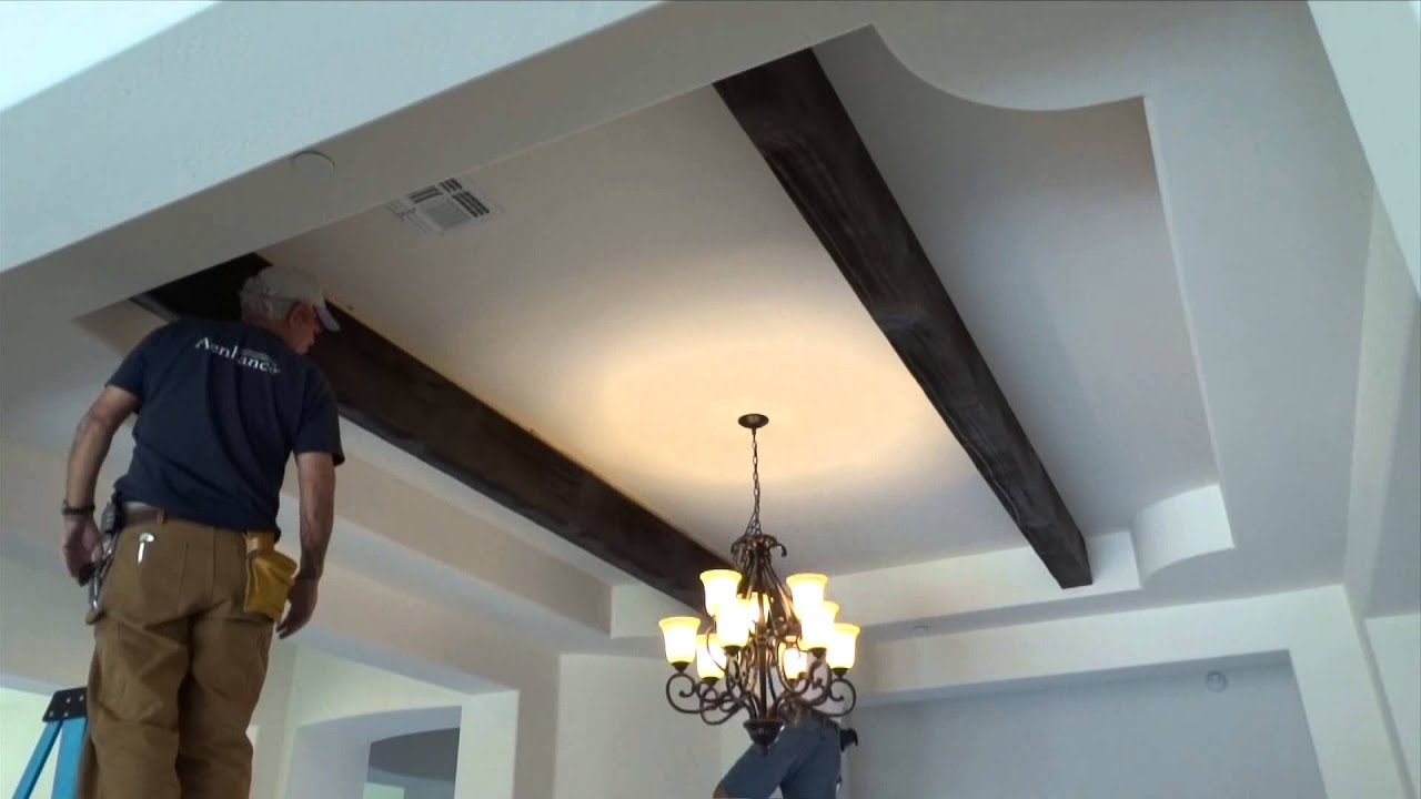 How to Install Faux Wood Ceiling Beams - YouTube