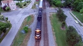 Chasing Norfolk Southern Train above Hartwell Ohio (Drone Video)