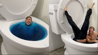WORLDS LARGEST TOILET FLUSHING BLUE POOL WITH GIRLFRIEND