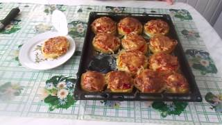 Приготовление очень вкусных и сочных  кабачков, фаршированных мясом и овощами.