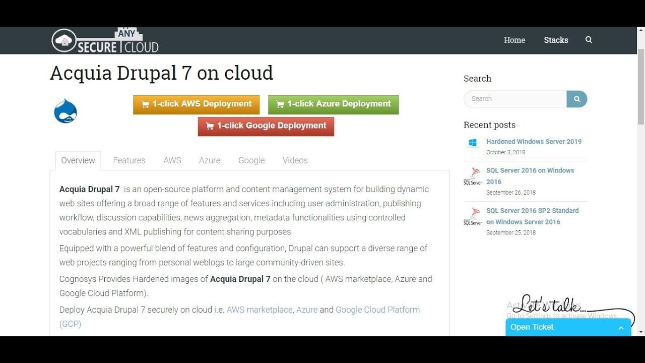 Acquia Drupal 7 on Cloud ( AWS / Azure / Google Cloud)