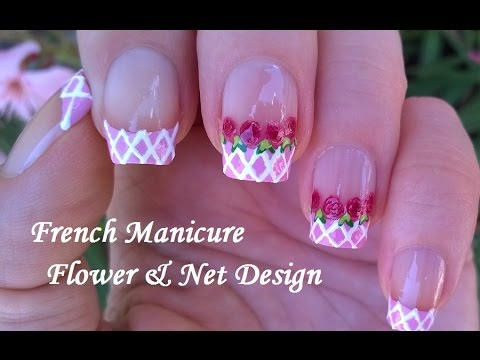 Pink White Flower Nail Art Vintage Rose Nails French Manicure