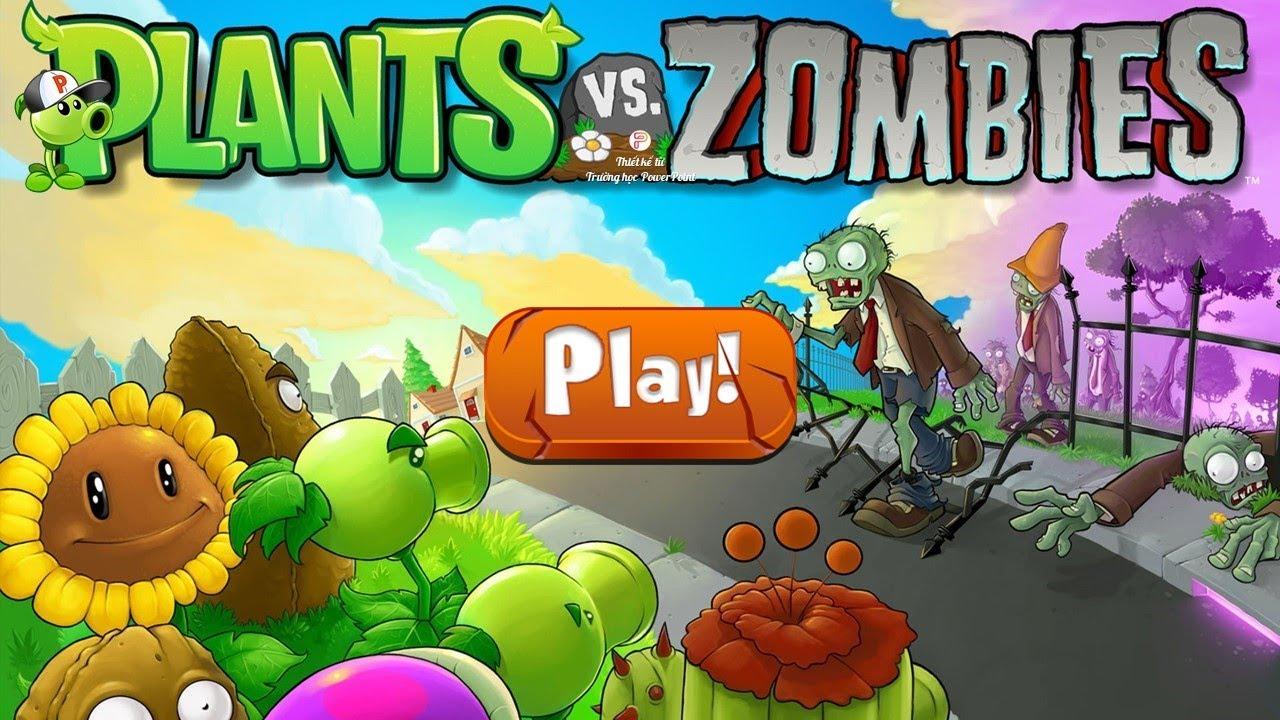 Trò chơi trái cây đại chiến zombie trên PowerPoint | plants vs zombies game