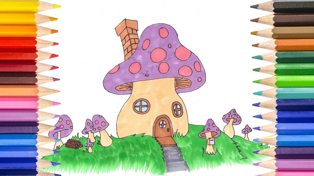 Ev Nasıl çizilir Ve Boyanır Hayali Mantar Ev çocuklar Için Kolay