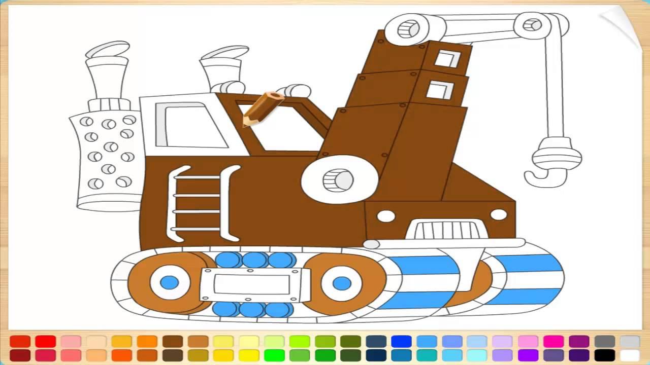 Раскраски для детей онлайн машинки для мальчиков КРАН ...