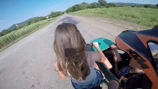 Девушка за рулём мотоцикла урал