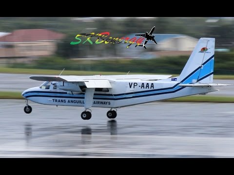 3 wet prop arrivals, ATR-72 600, Saab 340, BN-2 Islander @ St Kitts (HD 1080p)
