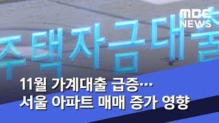 11월 가계대출 급증…서울 아파트 매매 증가 영향 (2…