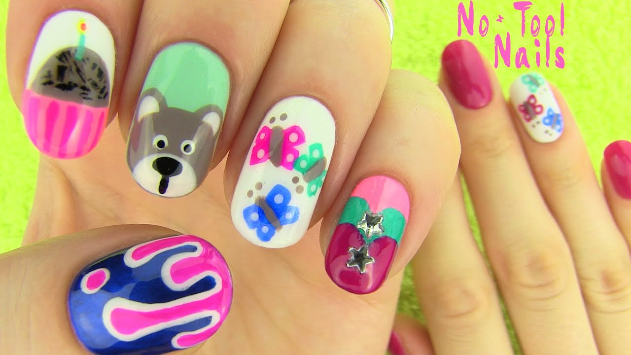 Nails Without Nail Art Tools! 5 Nail Art Designs!   YouTube Part 54