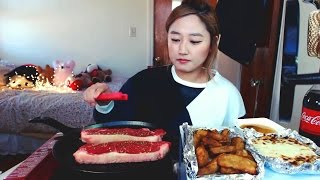 ny strip steak 스테이크 potato wedges 감자튀김   mukbang