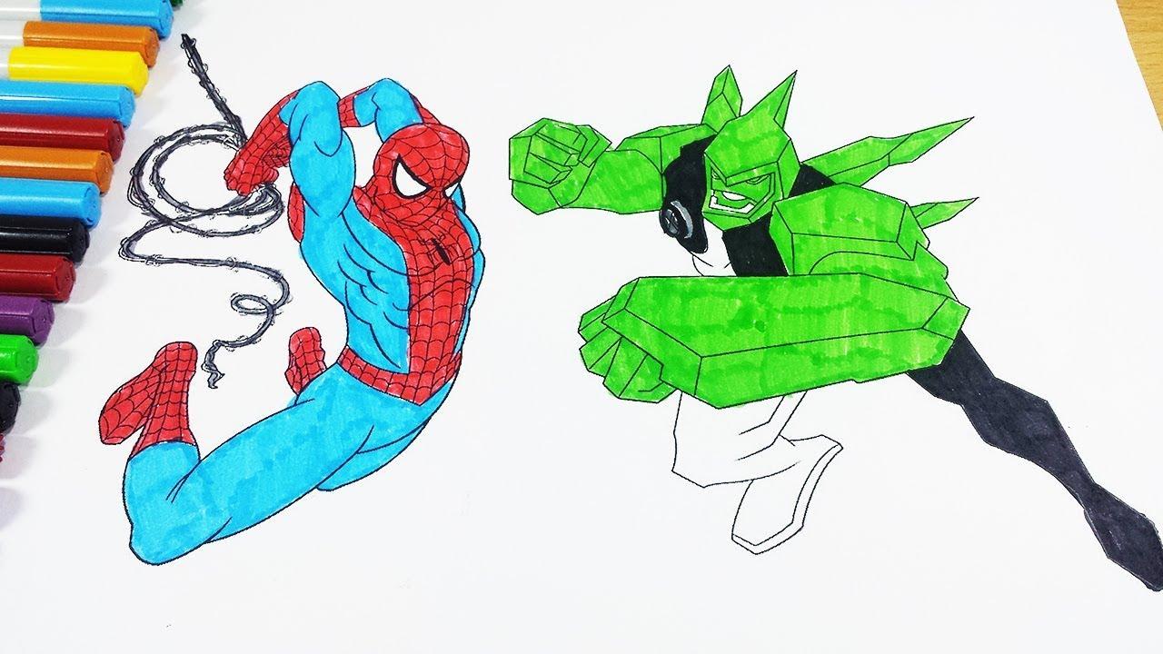 Coloring Pages Ben 10 Diamondhead SPIDERMAN - Coloring Videos Ben 10 ...