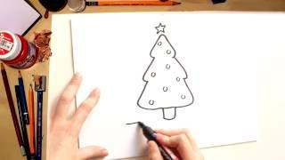 Como desenhar uma Árvore de Natal - desenhos de Natal para crianças