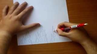Como dibujar llamas paso a paso | How to draw flames