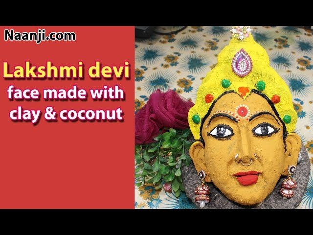 Vara Lakshmi Devi Face Making with Clay and Coconut for kalasam