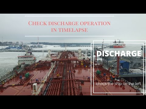 How a tanker ship discharge in port timelapse speed up