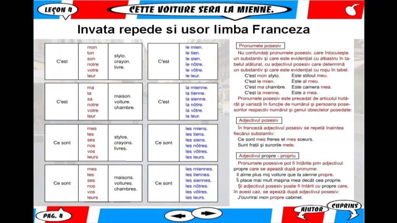 Invata repede si usor limba Franceza - Lectia 4