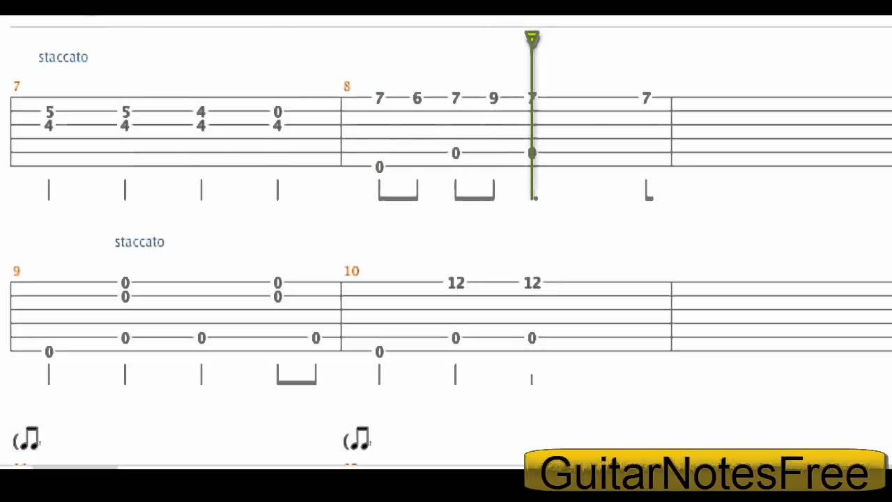 Spongebob Squarepants - Theme Acoustic Guitar Tab HD - YouTube
