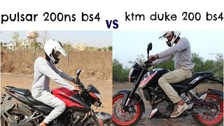 bajaj pulsar 200ns bs4 vs ktm duke 200 bs4