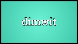 Dimwit Meaning