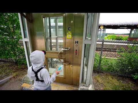 Sweden, Stockholm, Bålsta train station, 2X Schindler elevator - going to platform