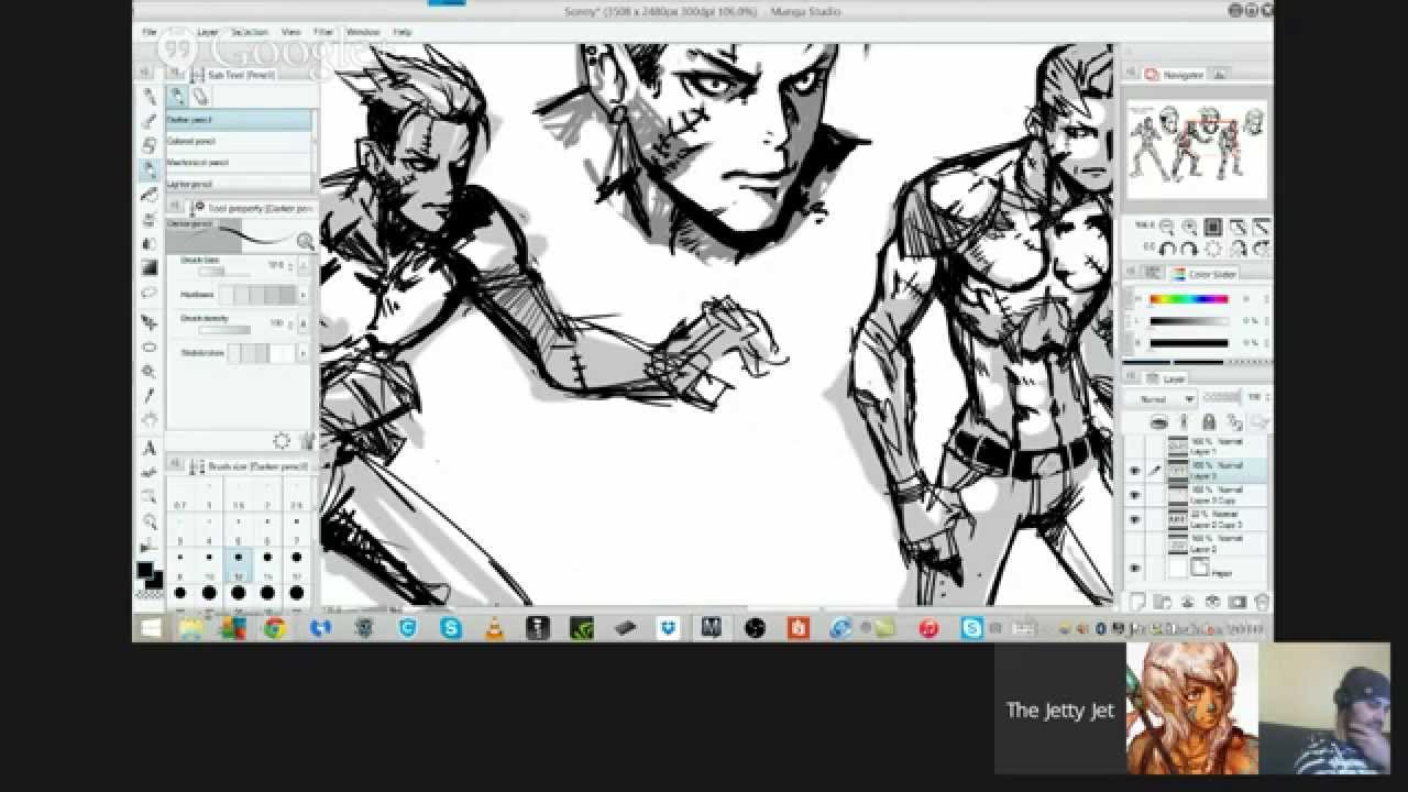 sonny 3 concept art with sycra and ricardo video game