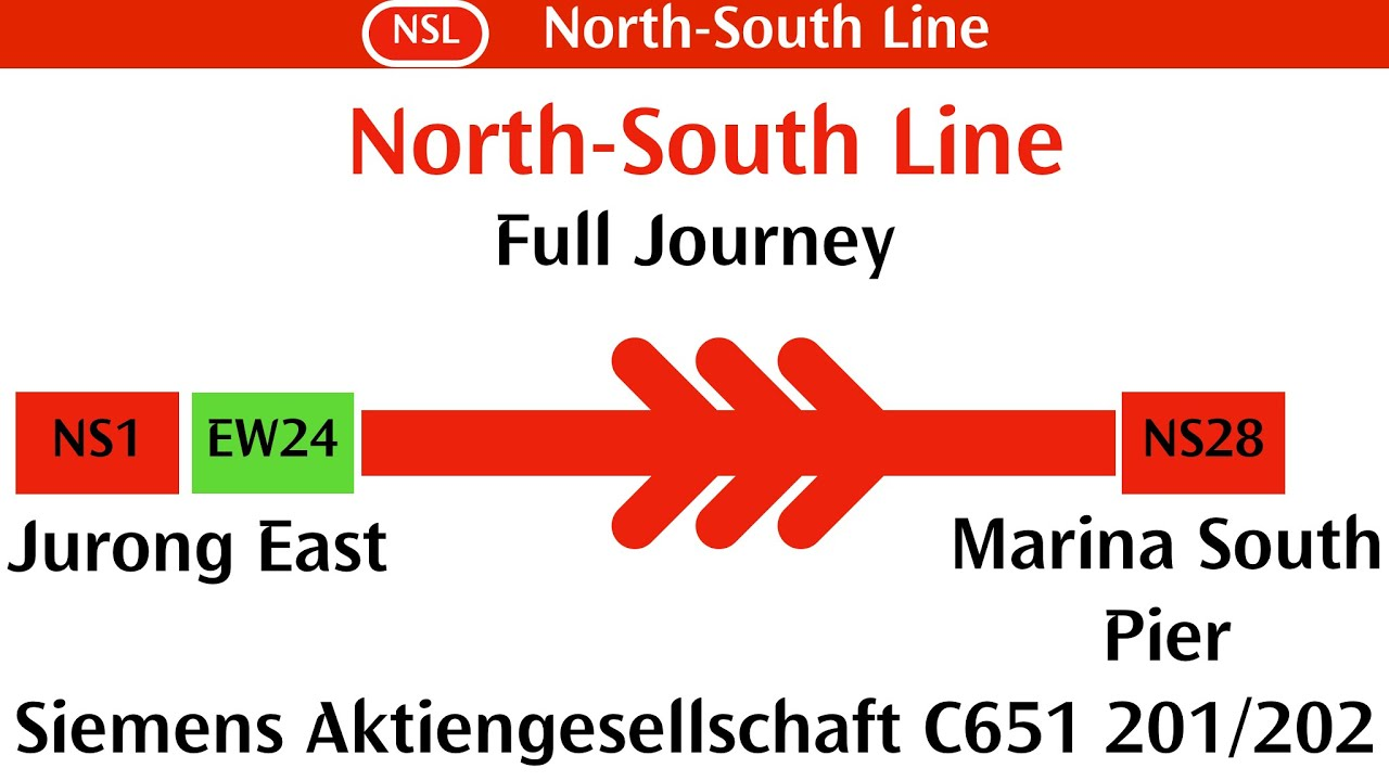 [Full NSL Journey] SMRT Trains, NSL Ride from Jurong East → Marina South Pier - Siemens C651 201/202